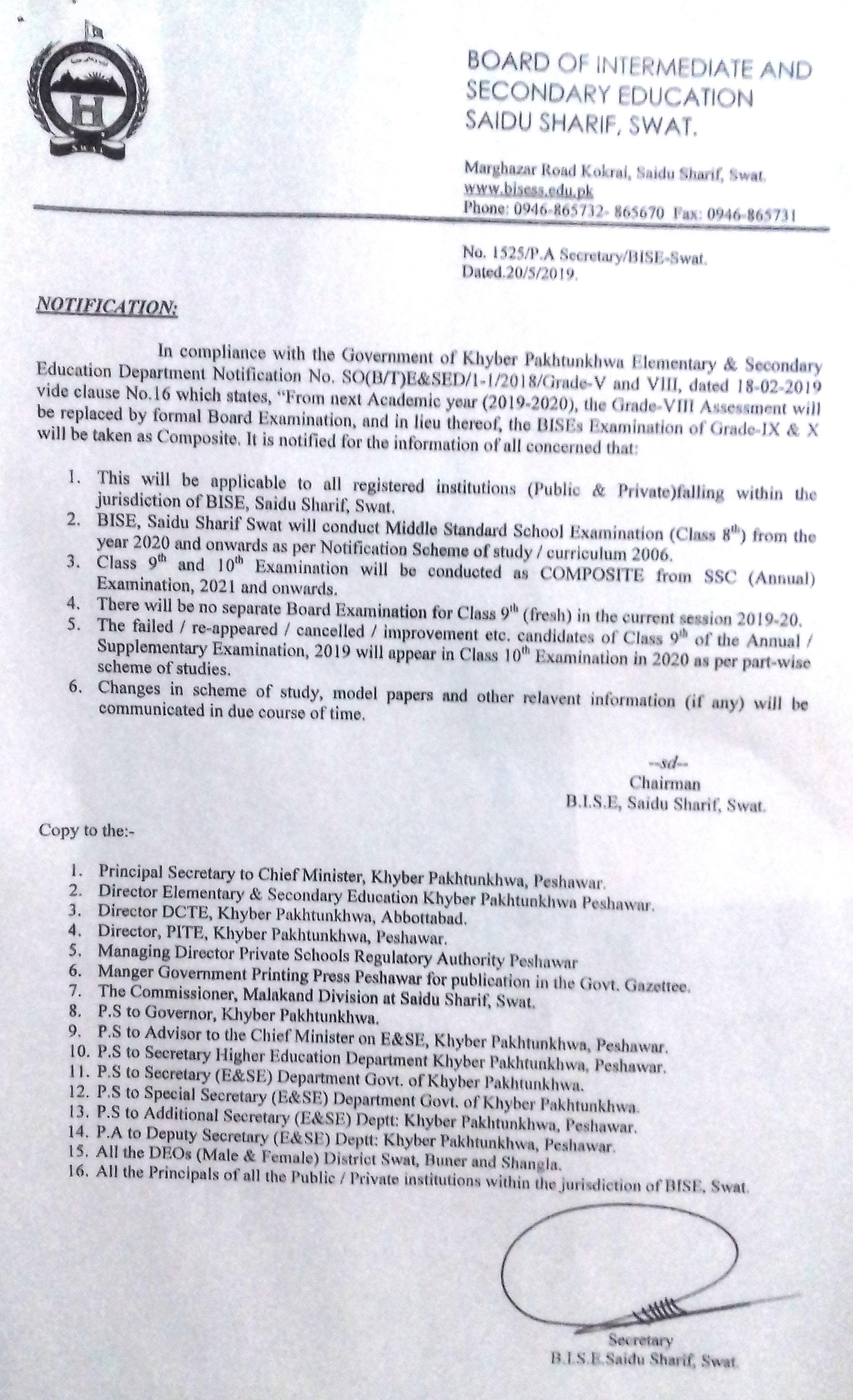 All Announced Results Of Bise, Saidu Sharif Swat